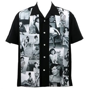 Bettie Page Picture Collage Bowling Style Shirt
